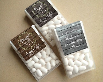Wraparound Rustic Barn Wood & Wreath Mint to Be Tic Tac Favor LABELS • Tic Tac Labels • Mint To Be • Mint to Be Favor Labels • Mints