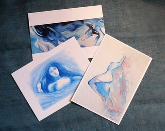 Tris Blue Postcards-female figures gift print