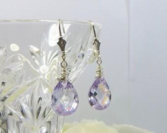 Lilac Zircon Gemstone Earrings, Sparkling Faceted Zircon Gemstone w Sterling Silver Earring Fittings, Sparkling Lavender Gemstone Earrings