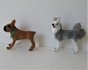 2 vintage Wagner Kunstlerschutz flocked dogs, miniature animals, Made in West Germany, Huskey, Boxer, instant collection, gift idea