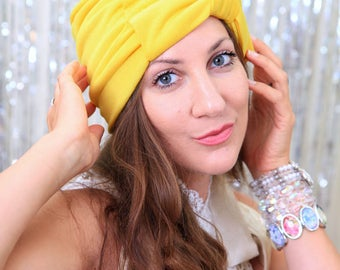 Yellow Turban with Bow - Fashion Hair Turbans for Women in Jersey Knit - Lots of Colors