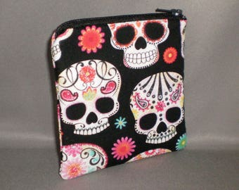 Day of the Dead - Coin Purse - Mini Wallet - Card Case - Small Padded Zippered Pouch - Dia de los Muertos- Skulls