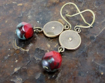 Game of Thrones - Red, Brown,Verdigris Czech glass + brass disc artisan jewelry earrings work with all your neutrals  TAGT red gifts for her