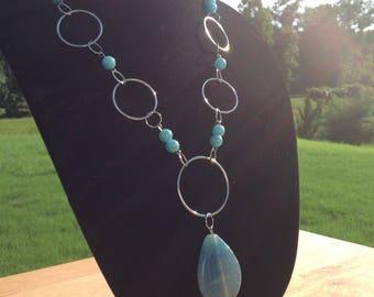 Long Aqua, Amazonite Beaded Necklace with Pendant Bead