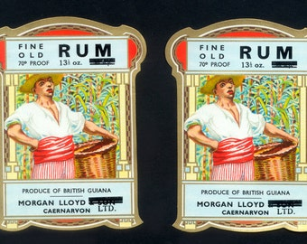 2 Gorgeous, Vintage Rum Labels from British Guiana  -  For Framing, Collage, Arts and Crafts