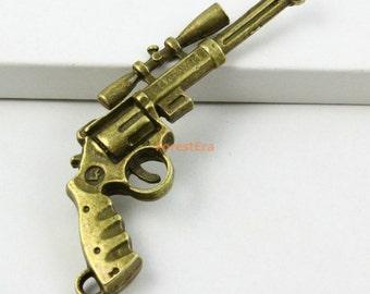 6Pcs Antique Brass Gun Revolver Charm Revolver Pendant 56x30mm (PND551)