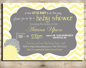 Gender Neutral Baby Shower Invitation, Grey and light Yellow Chevron, Digital File,  PRINTABLE _1213