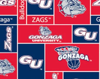 Personalized  Gonzaga Bulldogs Fleece and Minky Blanket with basketball applique