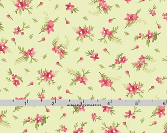Green & Pink Floral Fabric, Cottage Chic Floral Quilt Fabric, Maywood Studio Heather MAS 8396 G Jennifer Bosworth,  Pink Floral Cotton