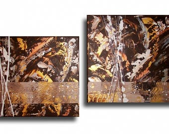 Diptych painting contemporary golden brown abstract modern wood Brown