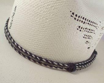 Horsehair hat band, Elegant, Cowboy horsehair hat band, No tassels, all natural, horsehair, Cowboy hat band, Western hat band, Gray/black