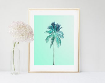 Palm Tree, Palm Print, Printable Art, Aqua Tree Print, Tropical Print, Instant Download, Home Decor, Wall Decor, Palm Tree Wall Art