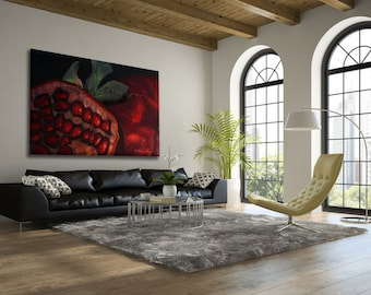 Extra Large Wall Art, Oil Painting, Fruit Art, Large Painting, Pomegranate Painting, LivingRoom Wall Art, Office Wall Art, Huge Wall Art