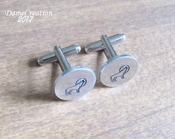 Wolf Cufflinks, Custom Cufflinks, Personalized Cuff Links, Hand Stamped Cufflinks, Wolf Gifts for Men, Gifts for Him, Gifts for Boyfriend