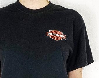 Vintage Harley Davidson Tee | Vintage Harley T-Shirt | Faded Black Harley Davidson Tee  | Soft Harley Tee Shirt Logo
