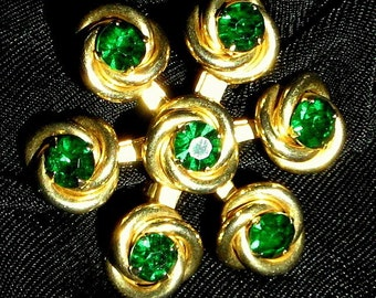 Emerald Rhinestones Vintage Brooch Pin Statement Green Art Deco 40's 50's Modernist Bling Flower Quality Mad Men Crystals Mid Century Estate