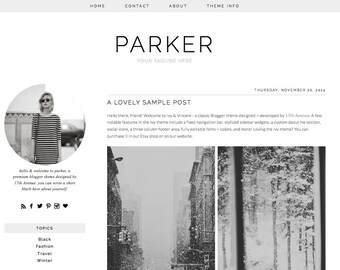 "Blogger Template Premade Blog Design - ""Parker"" Blogger Theme Simple Minimalist"