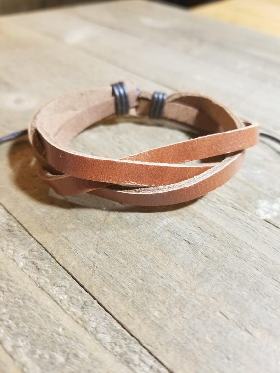 Light Brown Leather Braided Adjustable Bracelet Native American Style Fashion Cuff  (B6)
