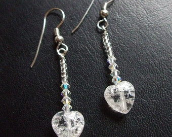 Tiny clear Rock Crystal Quartz heart earrings Sterling Silver - April Birthstone