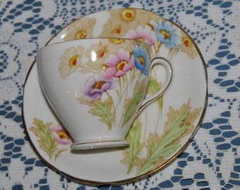 Beautiful Vintage, Royal Standard, Yellow, Blue & Pink Flowers, Fine Bone China Teacup And Saucer