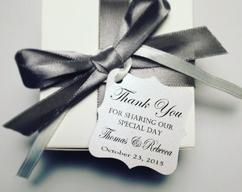 Wedding Thank You Tags -Personalized Wedding Favor Tags- thank you for sharing our special day-Elegant Favor Tags-Set of 50