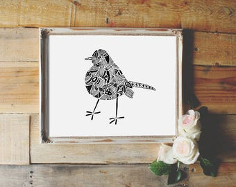 Black Bird Printable wall art, hand drawn art decor, instant download