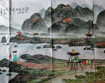 Vintage Korean water color large painting on paper expressive painted landscape mountain and water