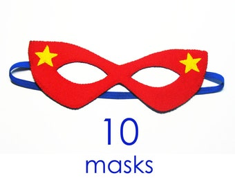 10 felt Superhero Masks party pack for kids SALE - red blue yellow - Dress Up play costume accessory package - Birthday gift for Boys Girls