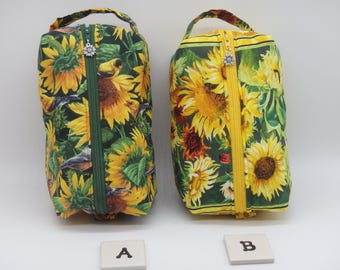 Sunflower Pouch, Sunflower Ditty Bag, Toiletry Kit, Cosmetics Case, Makeup Bag, Travel Case, Gifts for Mom,