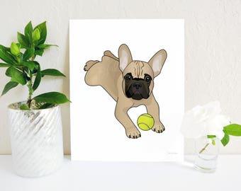 French Bulldog Art, Frenchie Wall Art, Fawn French Bulldog Art Print, Dog Art Print, Dog Art, Dog, French Bulldog Decor, Cute French Bulldog