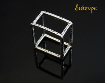 Handmade Ring , Sterling, Jewelry, Square Ring, Modern Ring