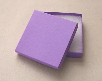 10 Purple Cotton Filled Jewelry Boxes High Quality 3.5 x 3.5 x 7/8 inch - Large