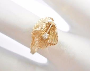 Diamond Ring, Gold Ring, Vintage Ring, Diamond, Diamond Rings, Flower Ring, 14k Yellow Gold Diamond Accent Flower Band Ring Sz 5.5 #3054