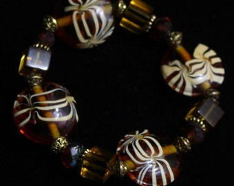 Bronze glass bracelet