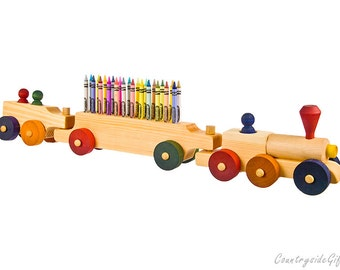 Crayon Holder - Wooden Train Crayon Holder 3 Car - Handcrafted Natural Organic Wooden Crayon Holder - Wooden Train Crayon Holder 24 Crayons
