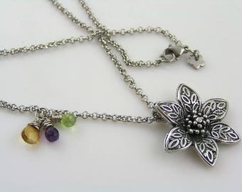 Flower Necklace with Gemstone Cluster, Cluster Necklace, Citrine and Amethyst Necklace, Gift for Women, Gift Idea, Handmade Necklace, N2166
