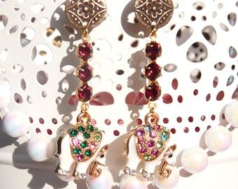 FREE SHIPPING Handmade Elephant Dangle Earrings - Animal Earrings - Animal Jewelry - Autumn Trends Jewelry - Gift Ideas - For Her