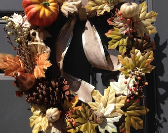 Pumpkin, Leaves, and Berries Autumn Wreath