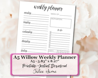 A5 Weekly Planner Inserts, A5 Planner Inserts, A5 Planner, A5 Inserts,  A5 Daily Inserts: A5 Willow Weekly Planner