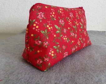 Cosmetic Bag - Red Floral