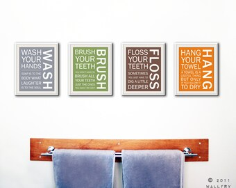Delicieux Bathroom Art Prints. Bathroom Rules. Kids Bathroom Wall Quotes. Wash Brush  Floss Flush