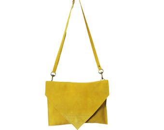 Yellow suede envelope clutch