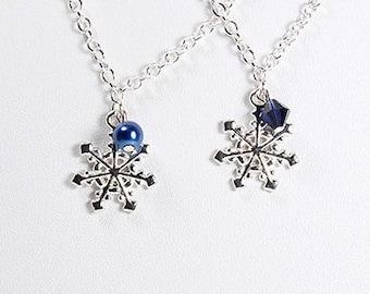 Snowflake Bridesmaids Necklaces Winter Wedding