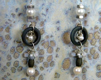 White Pearl Pearls Hex Nut Nuts Swarovski Crystals Rubber Rings Dangle Earrings SS Lever Backs Hardware Steam Punk