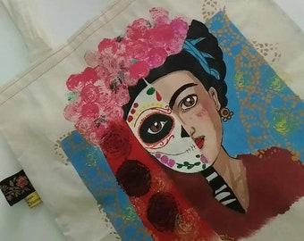 frida kahlo bag, frida calavera, day of the dead, mexican calavera, sugar skull, frida kahlo art, dia de los muertos, frida skeleton