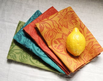 Fiesta linen napkins in marigold, zinnia, sea green, and olive hand block printed set of four