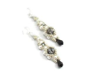 Crystal Dangle Earrings - Pearl Bead Jewelry - Black and White Teardrop Earrings - Handmade Beaded Jewelry