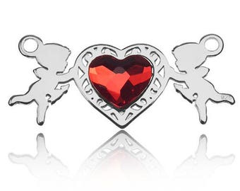 Connector Cupids with Swarovski Elements Silver 925
