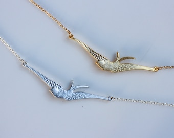 Gold or Silver Flying Bird Necklace, Gold or Silver Bird Necklace, Sparrow Necklace, Bird Jewelry, Asymmetric Bird Necklace, Strand Necklace