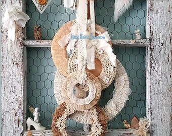 Wreath, Set of 5 Wreaths, Burlap & Lace Wreath, Fabric Wreath Set, Holiday Wreath, Rustic Wedding Decor, Woodland Wreath, Farmhouse Decor